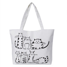 Girls Canvas Handbag Cartoon Cat Printed Shoulder Bag Women Large Capacity Ladie
