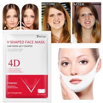 PUTIMI 4D Double V Shaped Face Mask Lifting Ear Hook Hydrogel V Line Face Sheet Mask Slimming Chin Check Neck Lift Anti Wrinkle