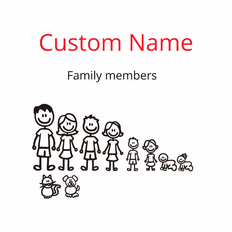 Custom Name family members car styling vinyl sticker on car bumper motor decals removable waterproof Dog cat baby on car sticker
