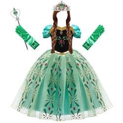 Платье Анны для девочек, карнавальный костюм Снежной королевы, костюм принцессы, Детская летняя одежда, детский карнавальный костюм на день...