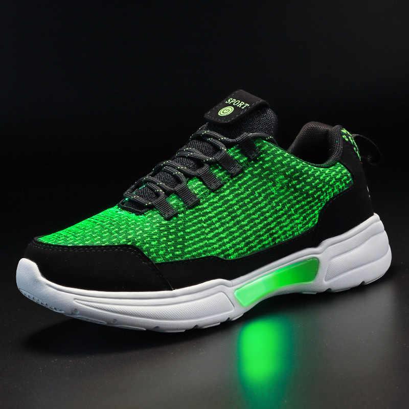 UncleJerry Neue LED Schuhe Fiber Optic Schuhe für mädchen jungen männer frauen USB Lade licht up schuh für Erwachsene Glowing lauf Sneaker