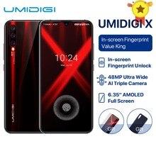 "UMIDIGI X 글로벌 버전 인 스크린 지문 6.35 ""AMOLED 48MP 트리플 리어 카메라 128GB NFC Helio P60 4150mAh 핸드폰 celula"