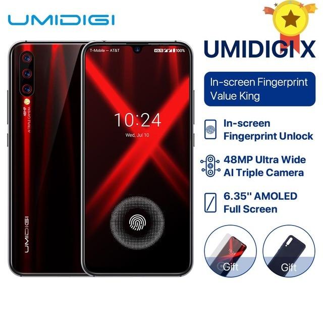 "UMIDIGI X Global Version In screen Fingerprint 6.35"" AMOLED 48MP Triple Rear Camera 128GB NFC Helio P60 4150mAh Cellphone celula"