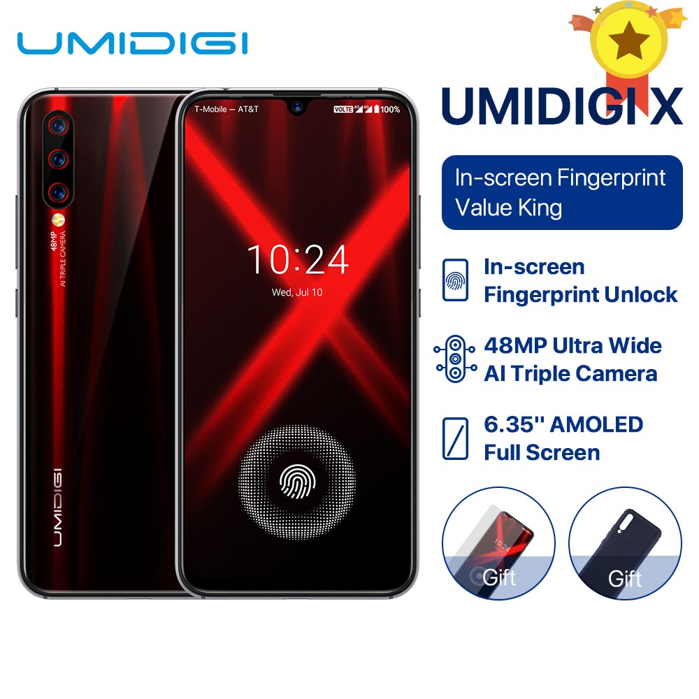 UMIDIGI X Global Version In screen Fingerprint 6.35 AMOLED 48MP Triple Rear Camera 128GB NFC Helio P60 4150mAh Cellphone
