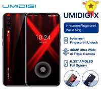 """UMIDIGI X Version globale à l'écran empreinte digitale 6.35 """"AMOLED 48MP Triple caméra arrière 128GB NFC Helio P60 4150mAh téléphone portable celula"""