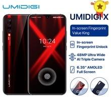 "UMIDIGI X Version globale empreinte digitale 6.35 ""AMOLED 48MP Triple caméra arrière 128GB NFC Helio P60 4150mAh téléphone portable celula"