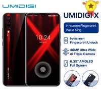 UMIDIGI X versión Global en pantalla huella digital 6,35 AMOLED 48MP Triple cámara trasera 128GB NFC Helio P60 4150mAh celular