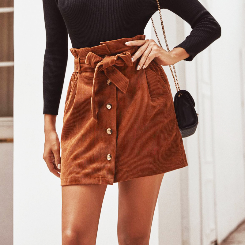 Autumn 2019 Women Skirt  High Waist Female Mini Skirt A-line Corduroy High Waist Flower Skirt Club Wear Ladies Sexy Short Skirts
