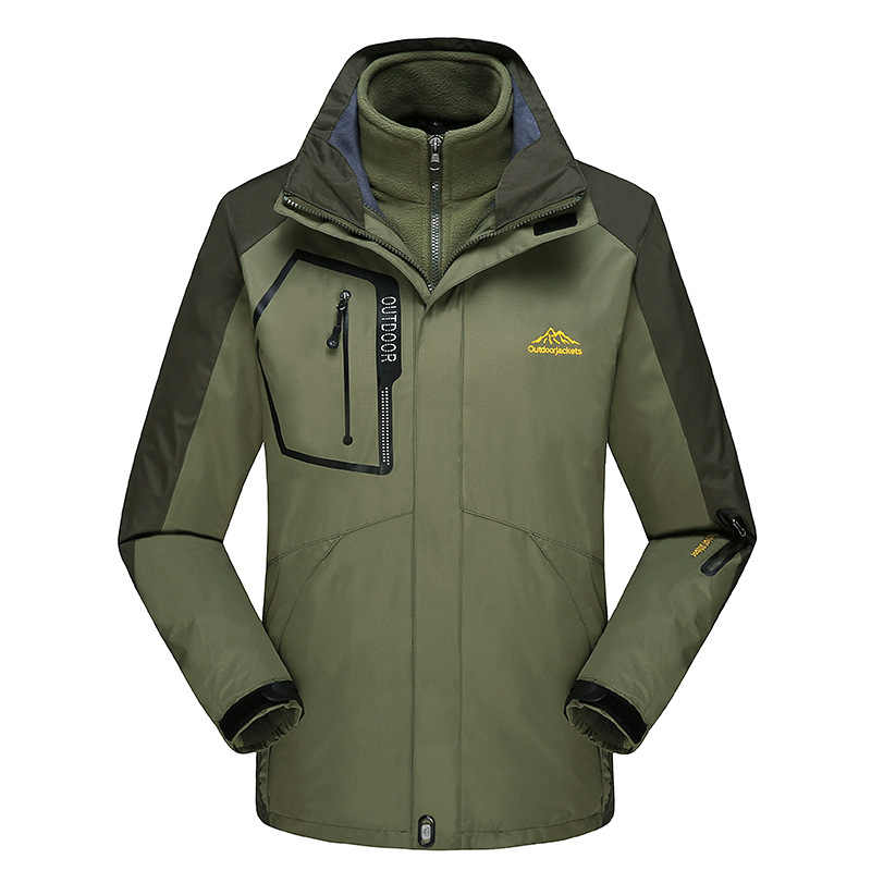 Mannen Outdoor Regenjas Jas Kleur Panel Fleece Tweedelige Set Drie-In-een Bergbeklimmen Couple's Plus -Sized Skipak Vrouwelijke