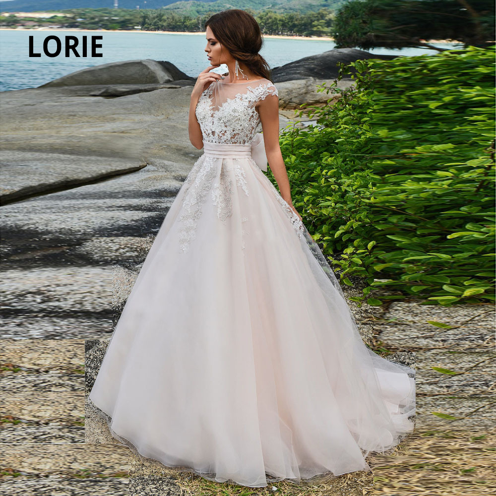 LORIE Cap Sleeve Pink Beach Wedding Dresses 2020 Chiffon With Lace Appliqued Beading Boho Bridal Gowns Illusion Princess Mariage
