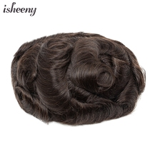 Isheeny Brown Men Toupee Replacement System 100% Human Hair Piece PU & Mono Top Wig Short Remy Hair With Lace Hair Natural