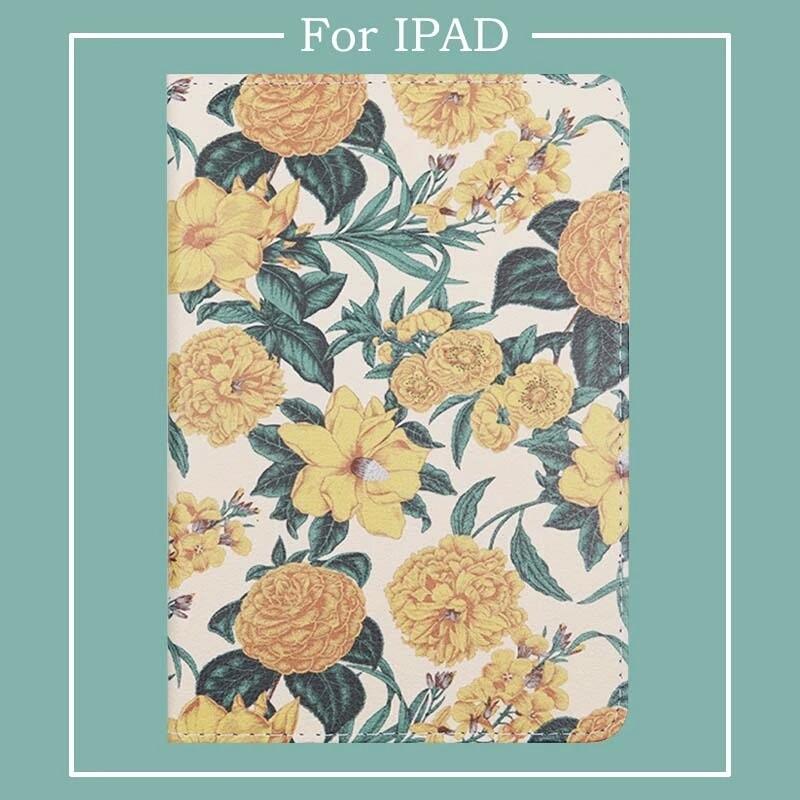 Мультяшный желтый цветок из искусственной кожи чехол для iPad Air 1/2 новый iPad 9,7 2018 чехол для iPad 234 mini 12345 Автоматическое включение/выключение