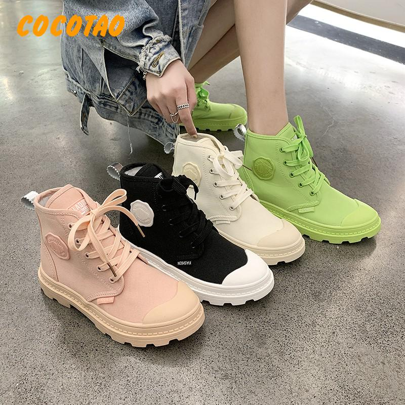 High To Help 2019 Summer Thin Canvas Shoes Female Leisure Candy Color Cloth Outdoor Climbing Martin Boots For Womens Boots Ankle