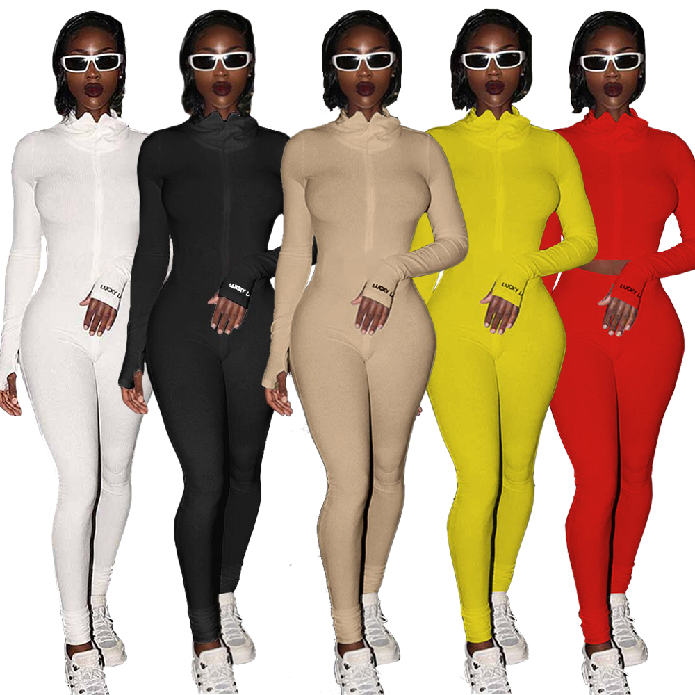 Lucky Label Jumpsuit Women Solid Long Sleeve Set Fitness Playsuit Sportswear Zipper Body Embroidery Jumpsuit For Woman 2020