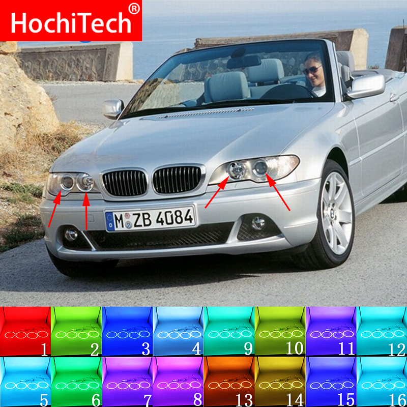 For BMW 3 Series E46 2004 - 2006 Accessories Latest Headlight Multi-color RGB LED Angel Eyes Halo Ring Eye DRL RF Remote Control
