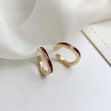 Fashion Irregular Geometrical C shape Metal Stud Earrings female Retro joker Enamel glaze ear ring For Women Jewelry