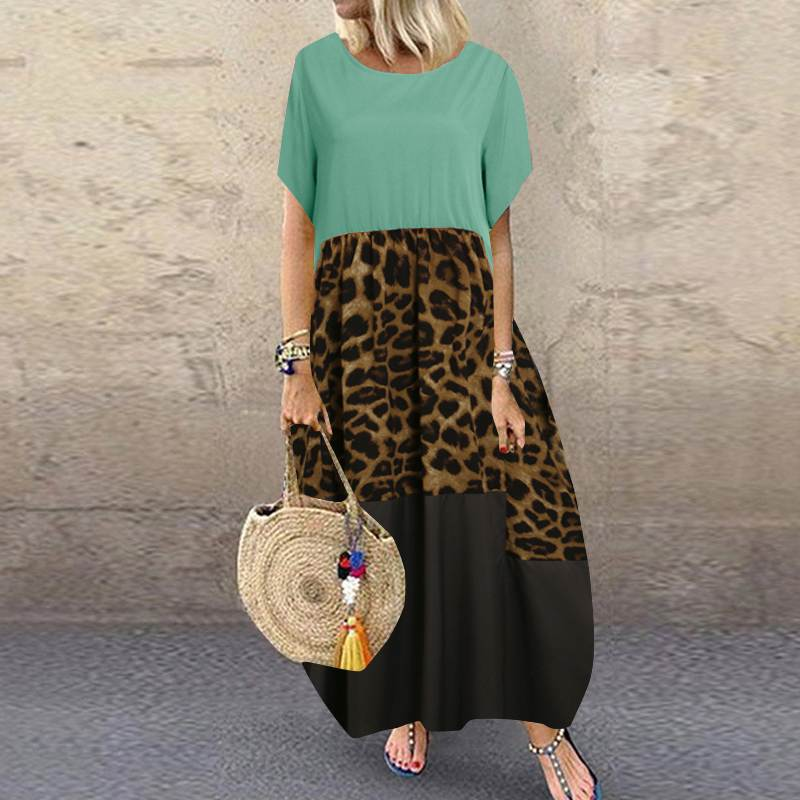Summer Patchwork Dress Women Bohemian Leopard Print Sundress Vintage Short Sleeve Baggy Long Vestido Plus Size Dresses 34