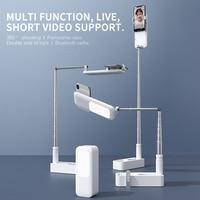 נייד טלפון מחזיק מעמד עם אלחוטי Dimmable LED Selfie למלא אור מנורת עבור לחיות וידאו למלא אור נשלף טלפון Stand