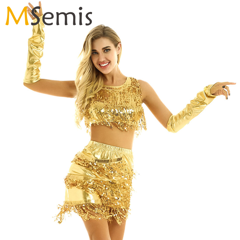 Latin Dress Women Sequin Tassels Latin Dance Costume Rave Outfit Latin Crop Tops With Short Skirt And Long Fingerless Gloves