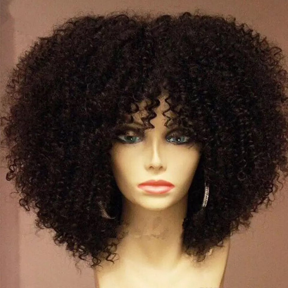 150% Density Mongolian Afro Kinky Curly Wig With Bang 13x6 Lace Front Human Hair Wigs Pre Plucked For Black Women Bleached Knots(China)