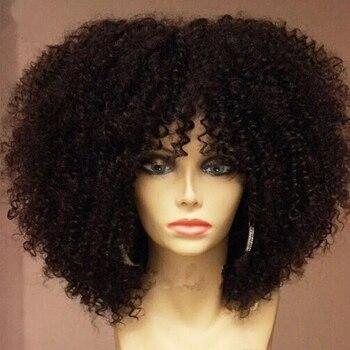 150% gęstość mongolski Afro peruka z kręconych włosów typu Kinky z Bang 13x6 koronki przodu włosów ludzkich peruk wstępnie oskubane dla czarnych kobiet bielone węzłów