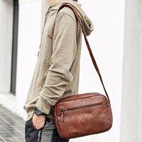 Genuine leather cow skin handmade crossbody bags men soft casual shoulder bag high quality