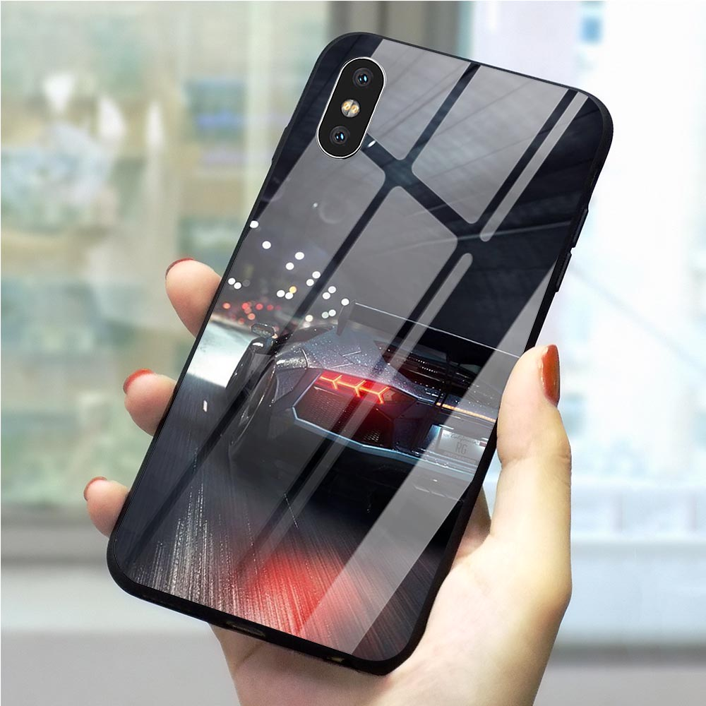 Print Need For Speed game Tempered Glass Phone Case for iPhone 6S Plus Cover 8 XR X 7 6 5 5S SE Xs Max Skin image
