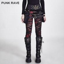 PUNK RAVE gotik kadın kırık Mesh tayt yüksek elastik delikler tığ işi nefes yırtık pantolon siyah kırmızı Steampunk çekicilik seksi