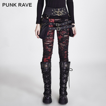 PUNK RAVE mujeres góticas roto malla Leggings altos agujeros elásticos de ganchillo transpirable pantalones con diseño rasgado negro rojo dije de Steampunk Sexy