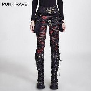 Image 1 - Punk Rave Gothic Vrouwen Gebroken Mesh Leggings Hoge Elastische Gaten Gehaakte Ademend Ripped Broek Zwart Rood Steampunk Charm Sexy