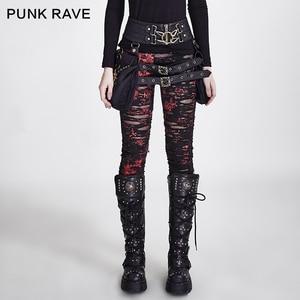 Image 1 - Женские готические леггинсы в стиле панк RAVE, эластичные вязаные дышащие рваные брюки черного, красного цветов в стиле стимпанк