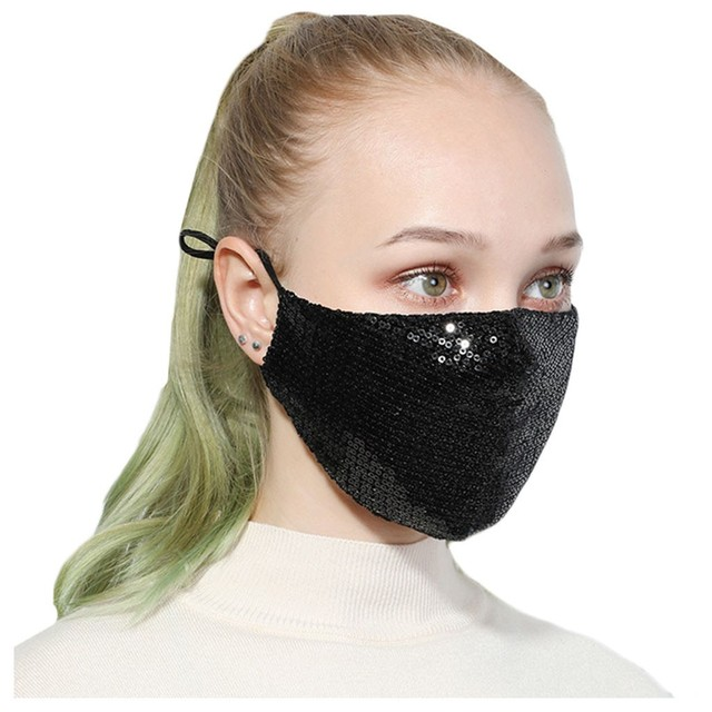 #H20 Sequin mask Cotton Keep Warm anti-haze Masks Shining Party unisex Breathable Mouth Respirator Washable Face Cover Masks