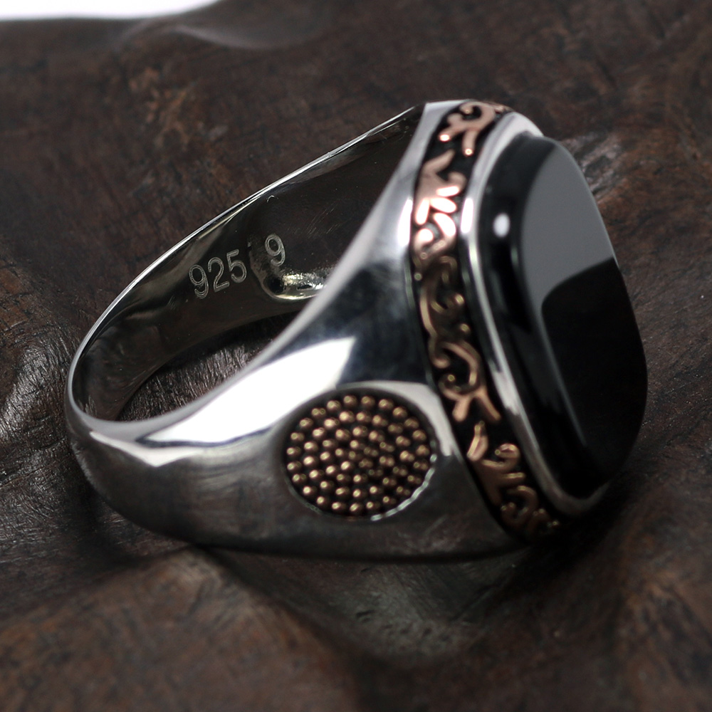 Image 2 - Real Pure Mens Rings Silver s925 Retro Vintage Turkish Rings For Men With Natural Black Onyx Stones Turkey JewelryRings   -