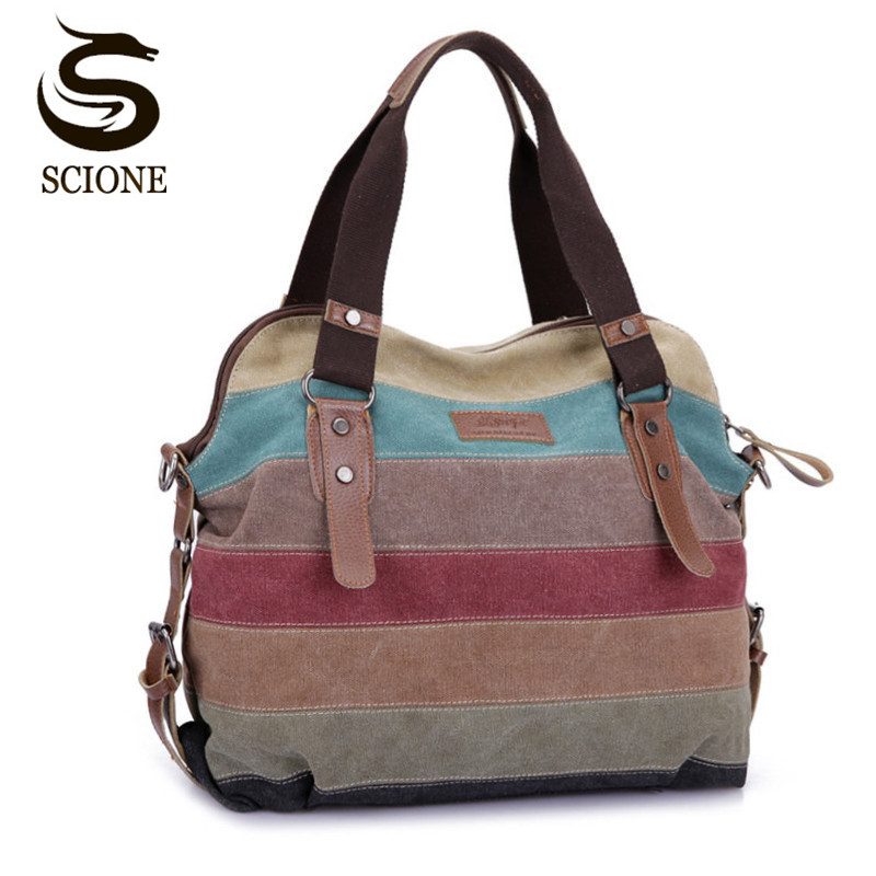 Women Canvas Shoulder Bags Fashion Messenger Bags Casual Beach Bag Striped Shopping Tote Handbag Bolsos Mujer