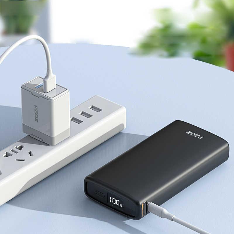 PZOZ 20000mAh قوة البنك USB C PD سريع شاحن آيفون سامسونج شاومي نوع C شحن سريع 3.0 USB Powerbank بطارية خارجية
