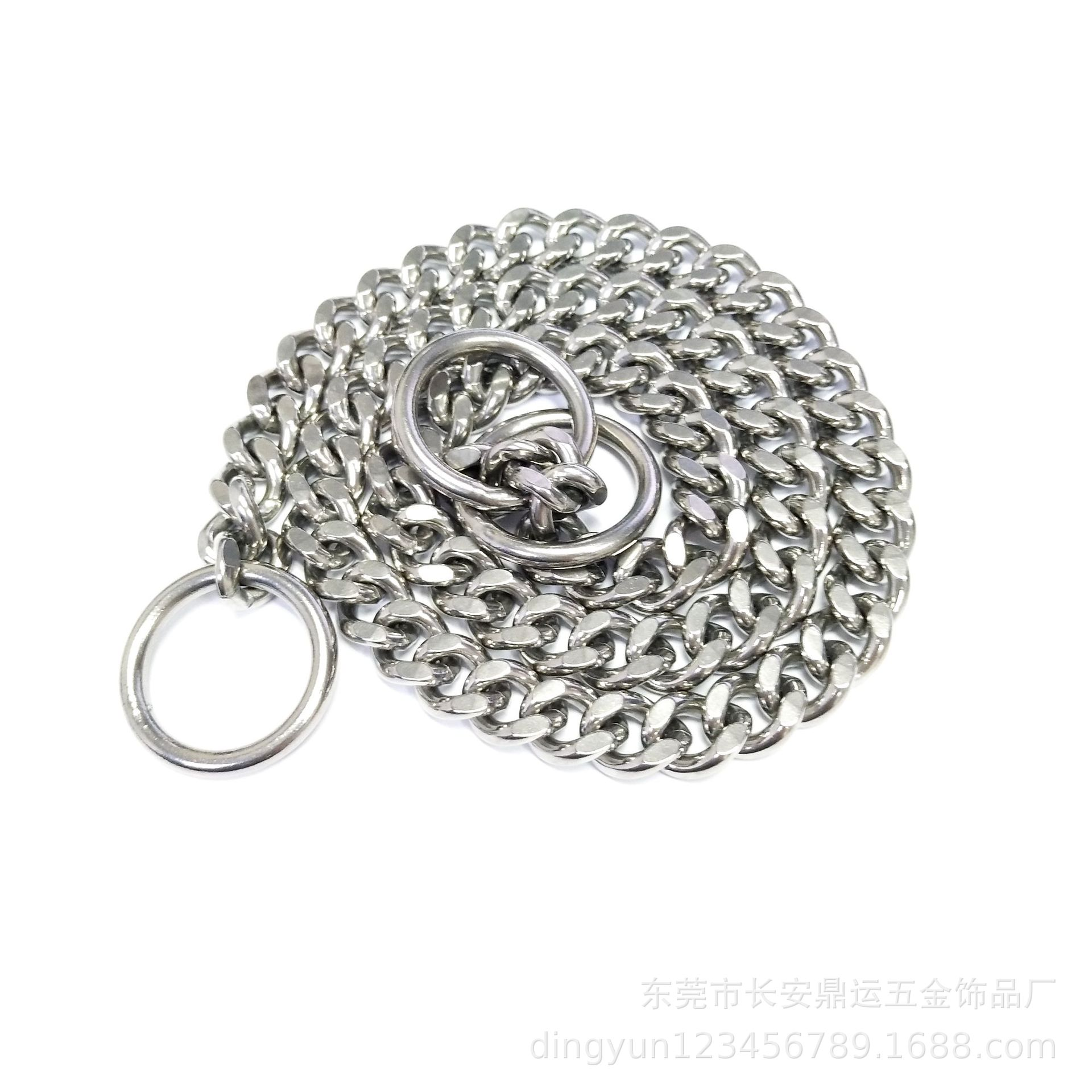Hot Selling Stainless Steel Dog Chain 11mm Wide Two-sided Grinding Pet Supplies Dog Collar Drag Chain