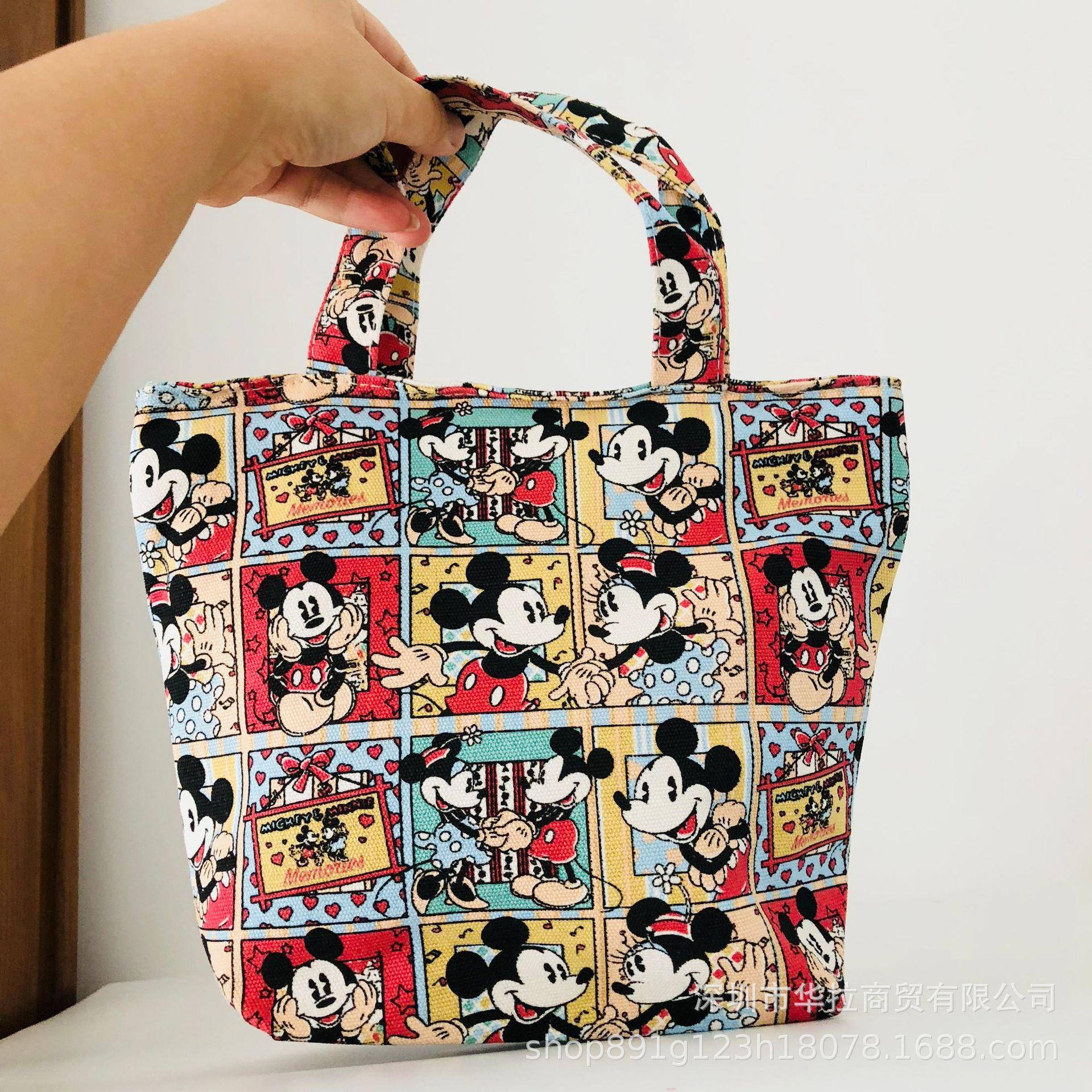 Disney Summer Portable Canvas Bag Ladies Cloth Bag Cartoon Mickey Mouse Minnie Bag Student Tool Sundries Bag Totes Hand Bag L