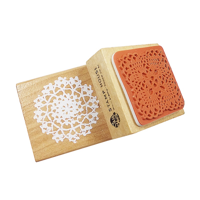 1pcs/lot 5x5cm Vintage Square Lace Pattern Seal Wood Stamps DIY Scrapbooking Rubber Stamp