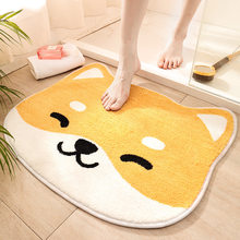 Japanese-Style Animal-Shaped Flocking Cartoon Floor Bath Mat Household Toilet Entrance Door Water-Absorbing Non-Slip Carpet Rug