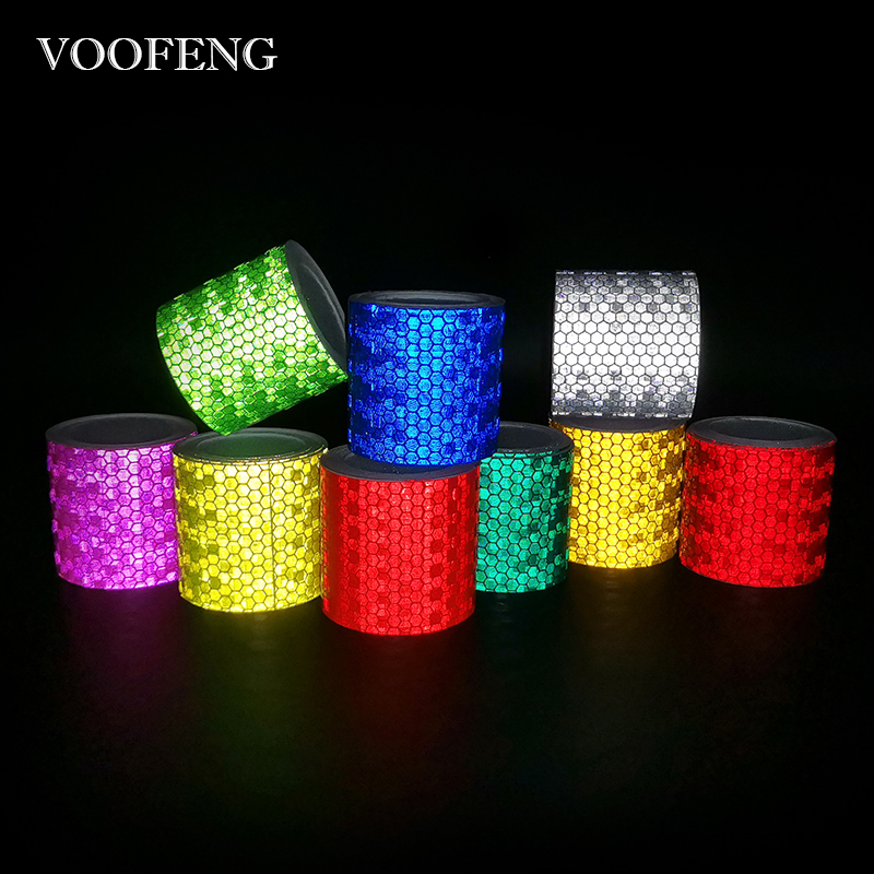 VOOFENG Reflective Tape Sticker For Car Bicycle Helmet Multi-Color Warmning Adhesive-Tape 5cm*3m