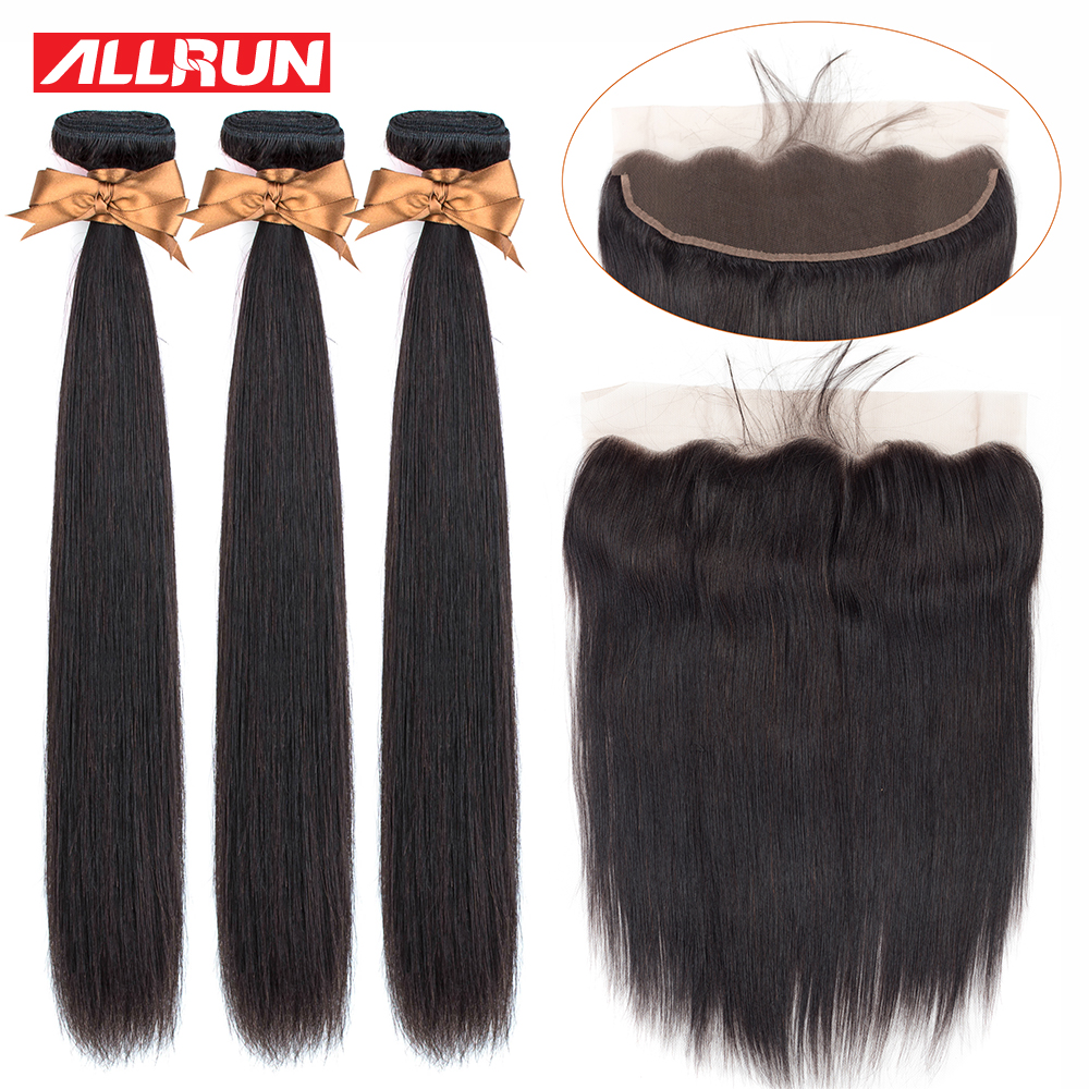 H84c8a868728240a09a0fd2f7fe79349f3 Allrun Malaysian Straight Hair Bundles With Frontal Closure 13*4 Human Hair Bundles With Closure Non-Remy Hair Low Ratio