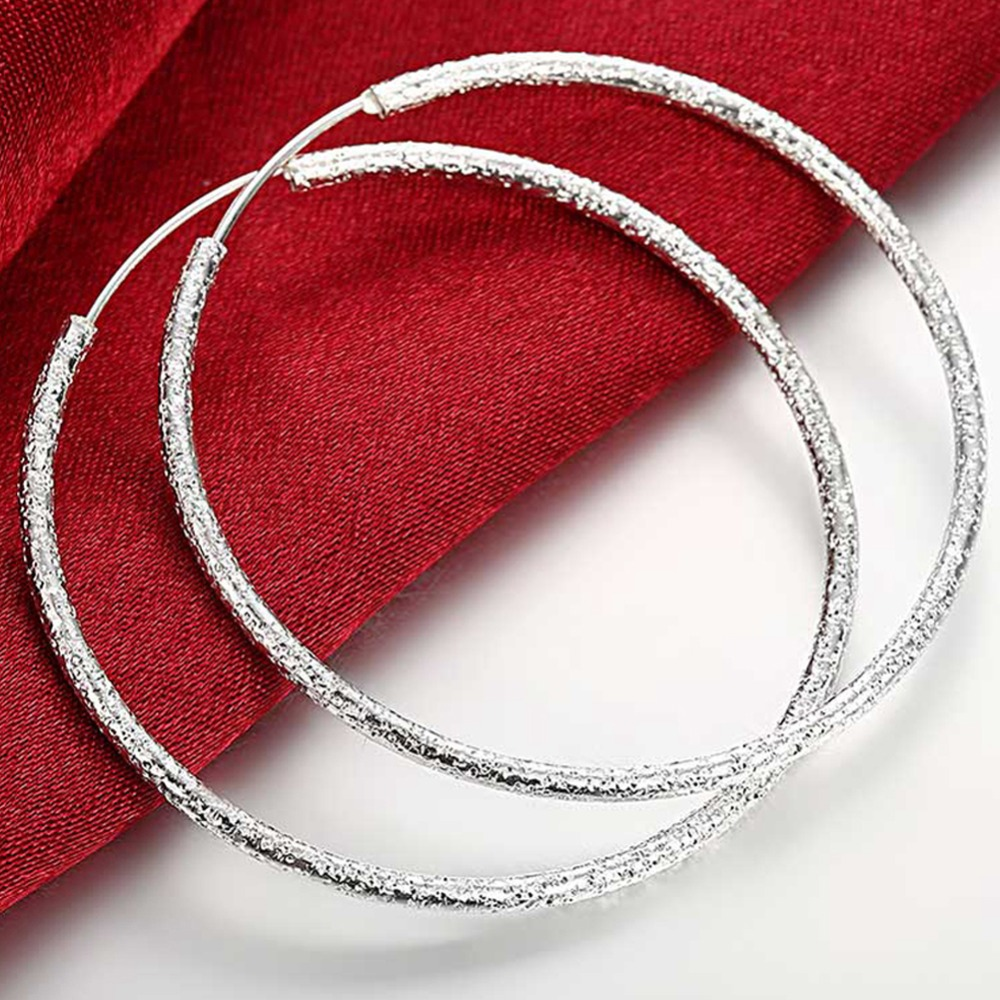 Free Shipping 925 Sterling Silver Simple Scrub 3.5cm/5.0cm Hoop Earrings for Women Trendy Jewelry Earrings