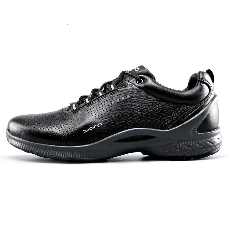 Ecco Men's Leather Shoes Summer Bionm Outdoor Black Walking Shoes Breathable Comfortable Casual Men Casual Shoes 837514