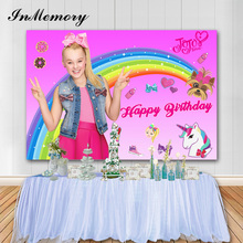 InMemory Jojo Siwa Birthday Photographic Backdrops Girls Birthday Unicorn Photo Background Pink Theme Vinyl Photo Booth Props