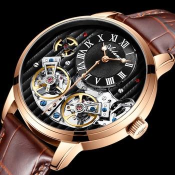 AILANG AAA جودة ساعة مكلفة مزدوجة توربيون سويسرا الساعات أفضل العلامة التجارية الفاخرة الرجال التلقائي ساعة ميكانيكية الرجال 1