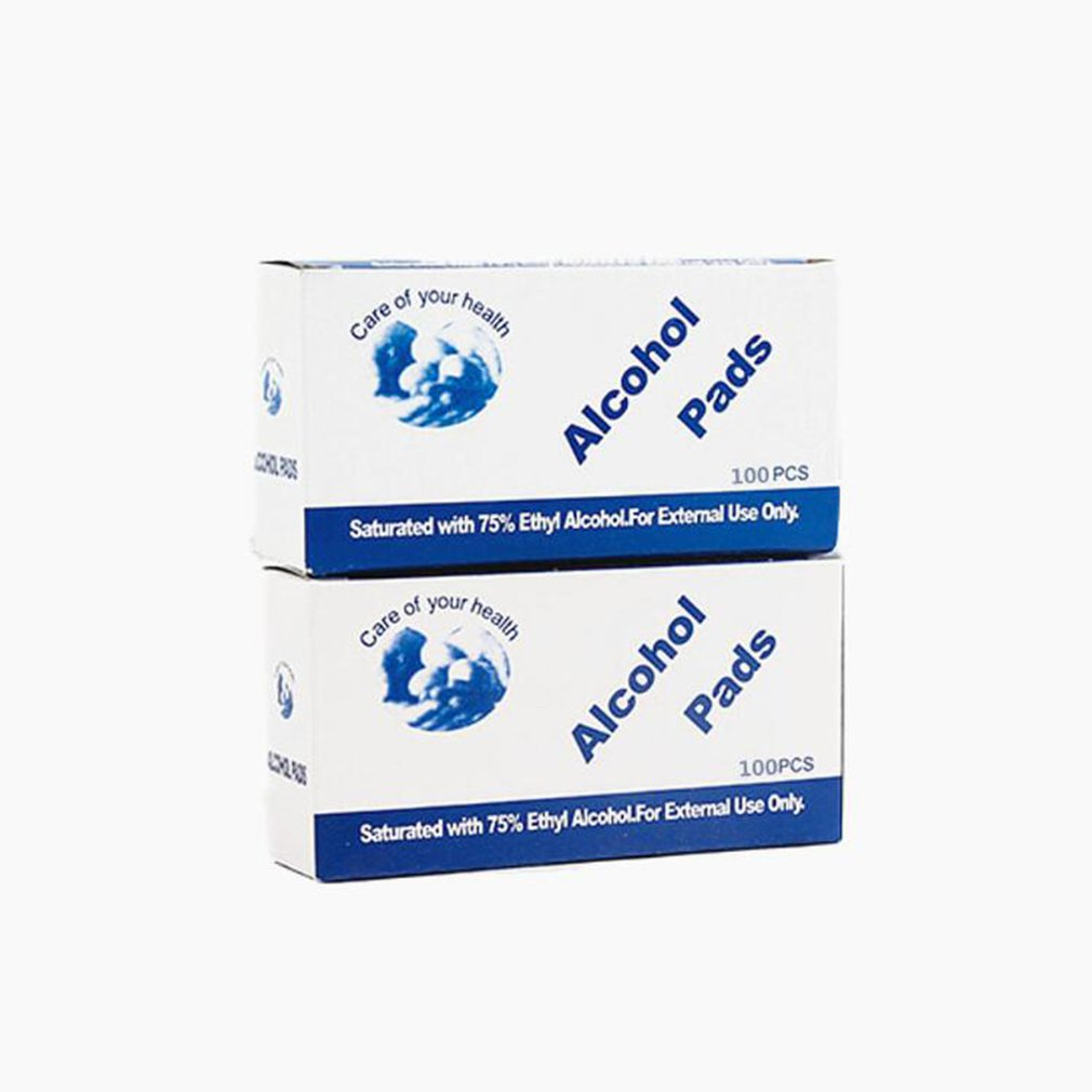 100pcs/Box Professional Alcohol Swabs Pads Wet Wipes 70% Isopropyl First Aid Home Skin Cleanser Sterilization Wholesale