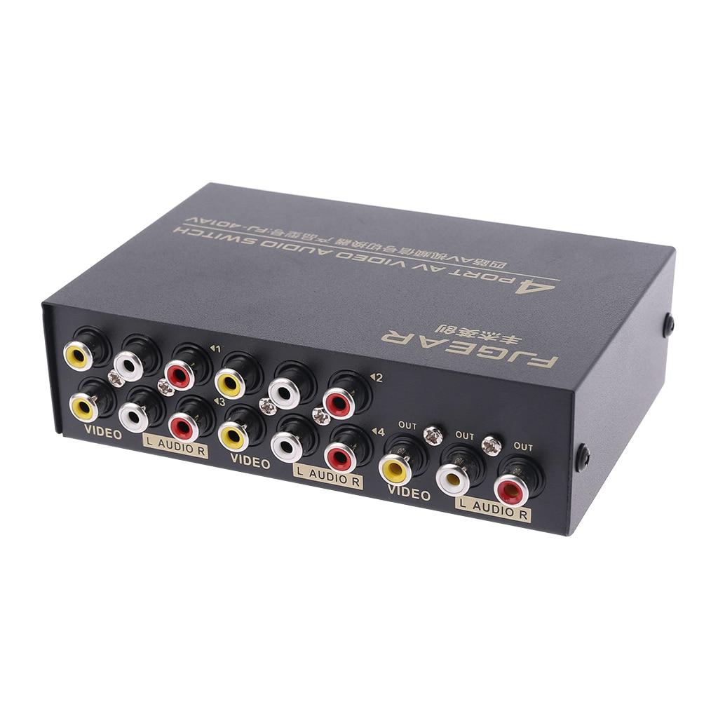 4 порта AV аудио видео RCA 4 входа 1 выход Переключатель Селектор сплиттер коробка Прямая поставка