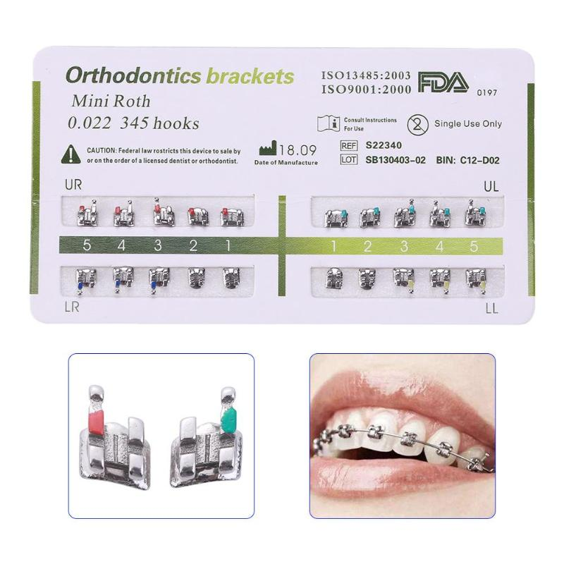 1 Set Metal Bracket Orthodontic Bracket Dental Gauge Locator Teeth Mini Durable Alignment Accurate Design Of Low Friction Groove