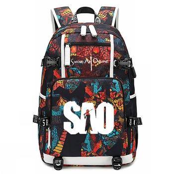 Sword Art Online Teenager Boys Girls Oxford Laptop Backpack Unisex Cartoon 18 Inch Travel Backpacks Men/Women Outdoor Laptop Bag