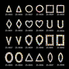 300pcs/lot Geometric Metal Hollow Frame Alloy Metal Rivet Nail Art Decorations Supplies Nails Accesorios Jewelry Designs Charms